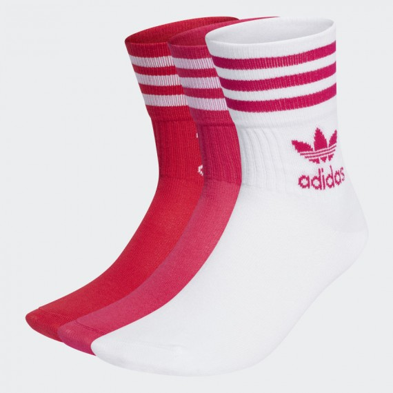 Mid Cut Sock 3P White / Bold Pink / Bold Red