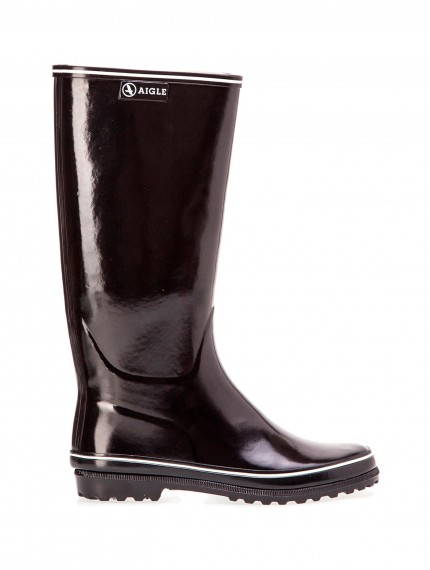 Venise Women's glossy rubber boots Black