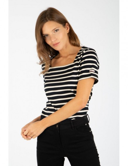 Coursive Top Striped Navy