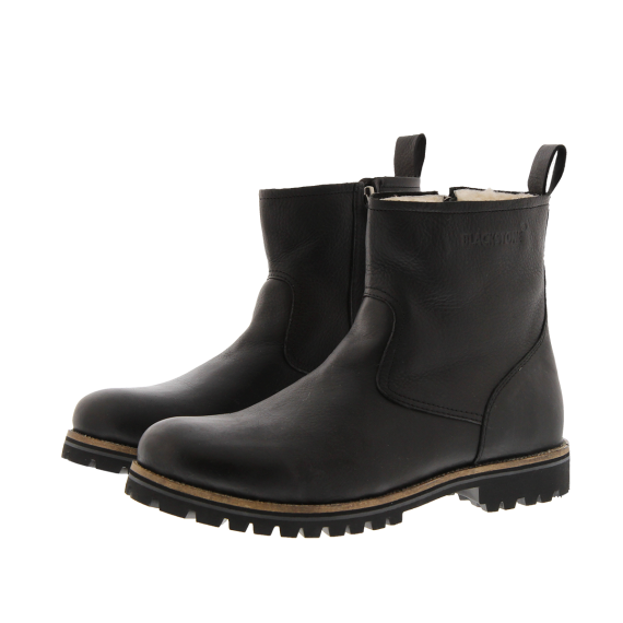OM63 Black Zipper Boot Fur