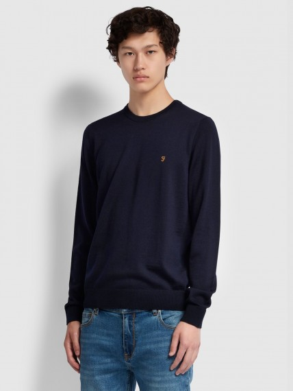 Mullen Merino Wool Crew Neck Jumper Navy