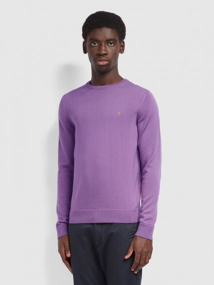 Mullen Merino Wool Crew Neck Jumper In Rich Lilac - Lila