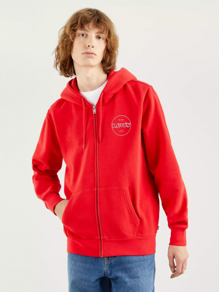 The Graphic Zip Up True Red