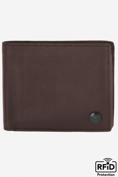Button Leather Wallet Brown