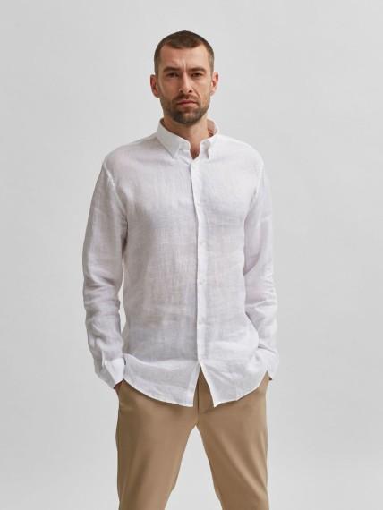 Pen Antique Linen Shirt White