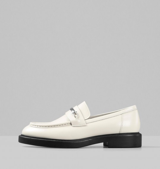 Alex W Off White Polished Leather Shoes