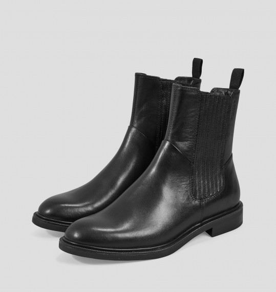 Amina Black Leather Boots