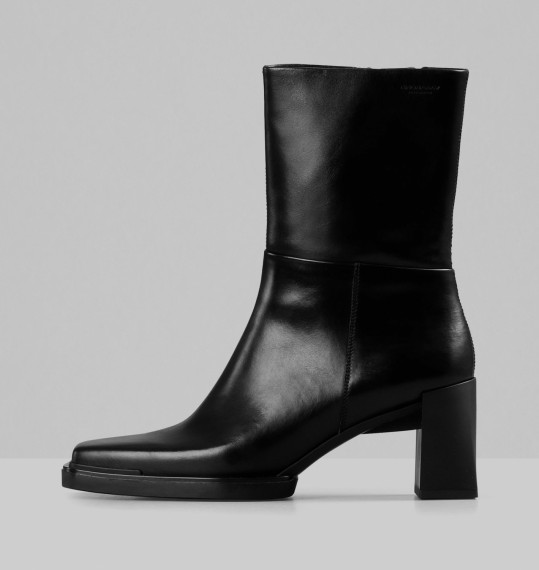 Edwina Black Leather Boots