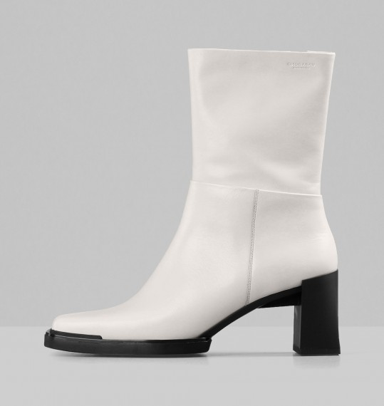Edwina Off White Leather Boots