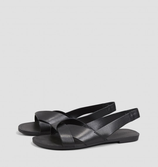 TIA Black Leather Sandals